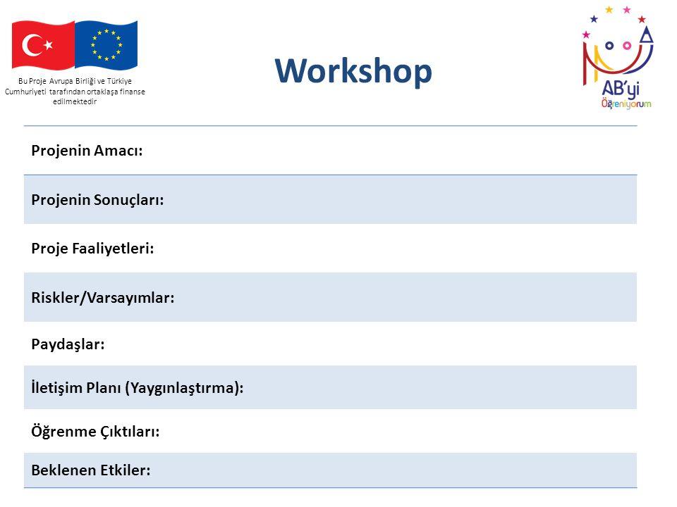 Workshop Projenin Amacı: Projenin Sonuçları: Proje Faaliyetleri: