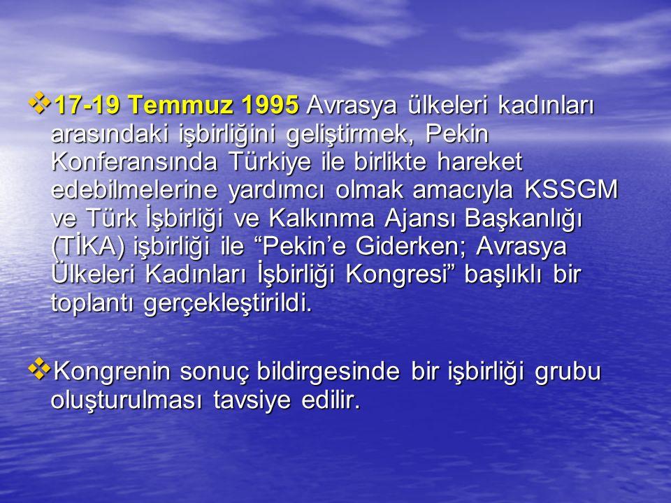 17-19 Temmuz 1995 Avrasya ülkeleri kadınları arasındaki işbirliğini geliştirmek, Pekin Konferansında Türkiye ile birlikte hareket edebilmelerine yardımcı olmak amacıyla KSSGM ve Türk İşbirliği ve Kalkınma Ajansı Başkanlığı (TİKA) işbirliği ile Pekin'e Giderken; Avrasya Ülkeleri Kadınları İşbirliği Kongresi başlıklı bir toplantı gerçekleştirildi.