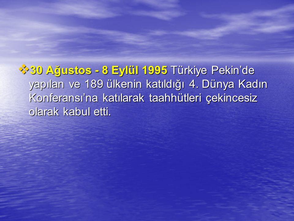 30 Ağustos - 8 Eylül 1995 Türkiye Pekin'de yapılan ve 189 ülkenin katıldığı 4.