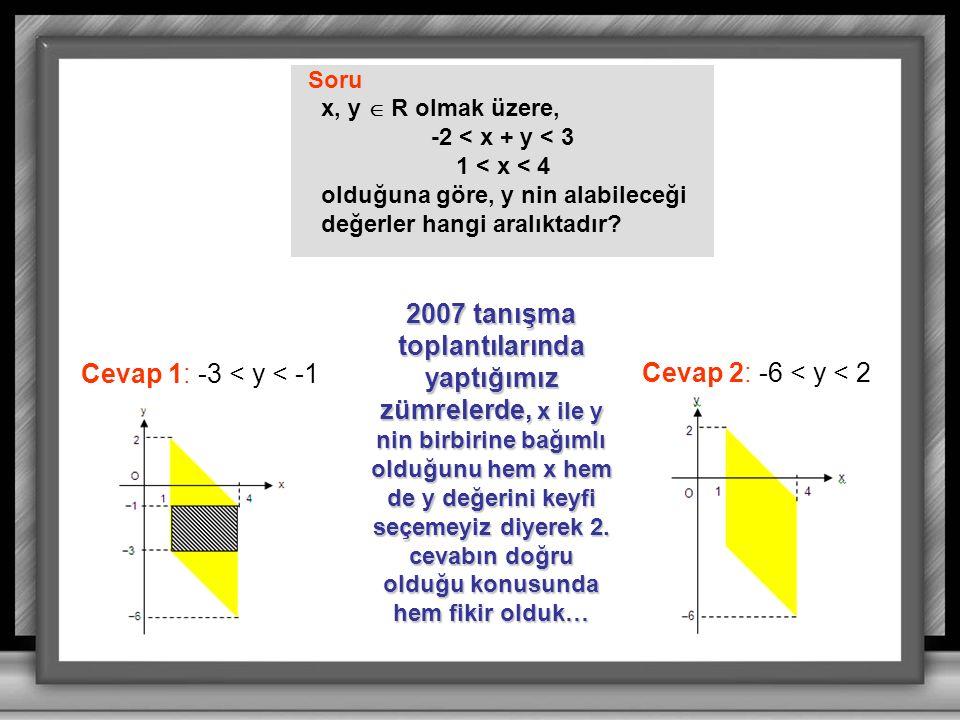 Soru x, y  R olmak üzere, -2 < x + y < 3. 1 < x < 4. olduğuna göre, y nin alabileceği. değerler hangi aralıktadır