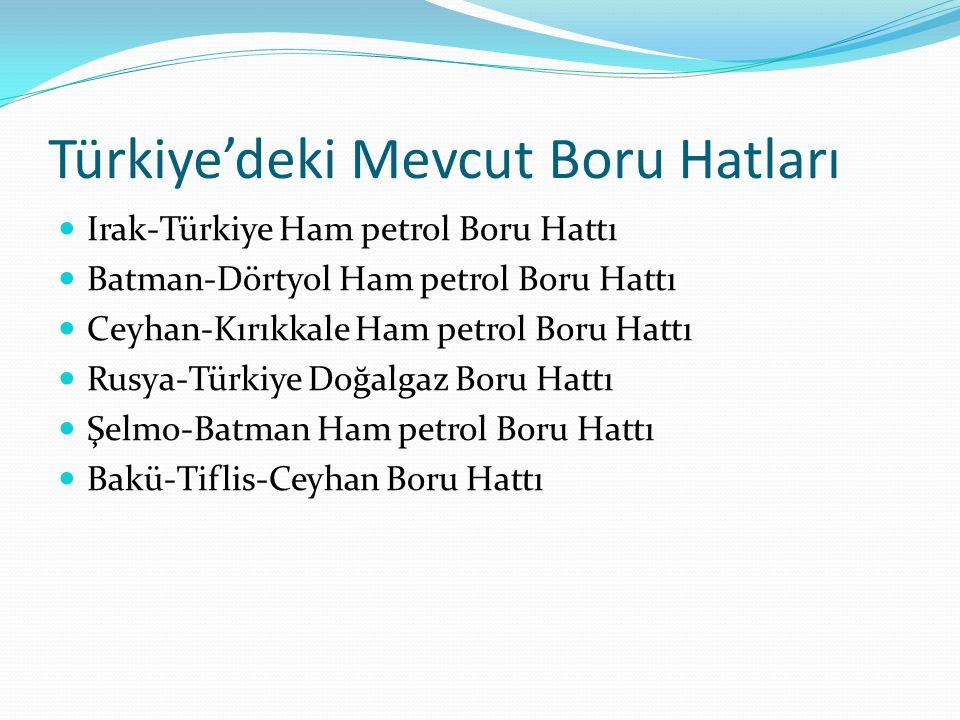 Türkiye'deki Mevcut Boru Hatları