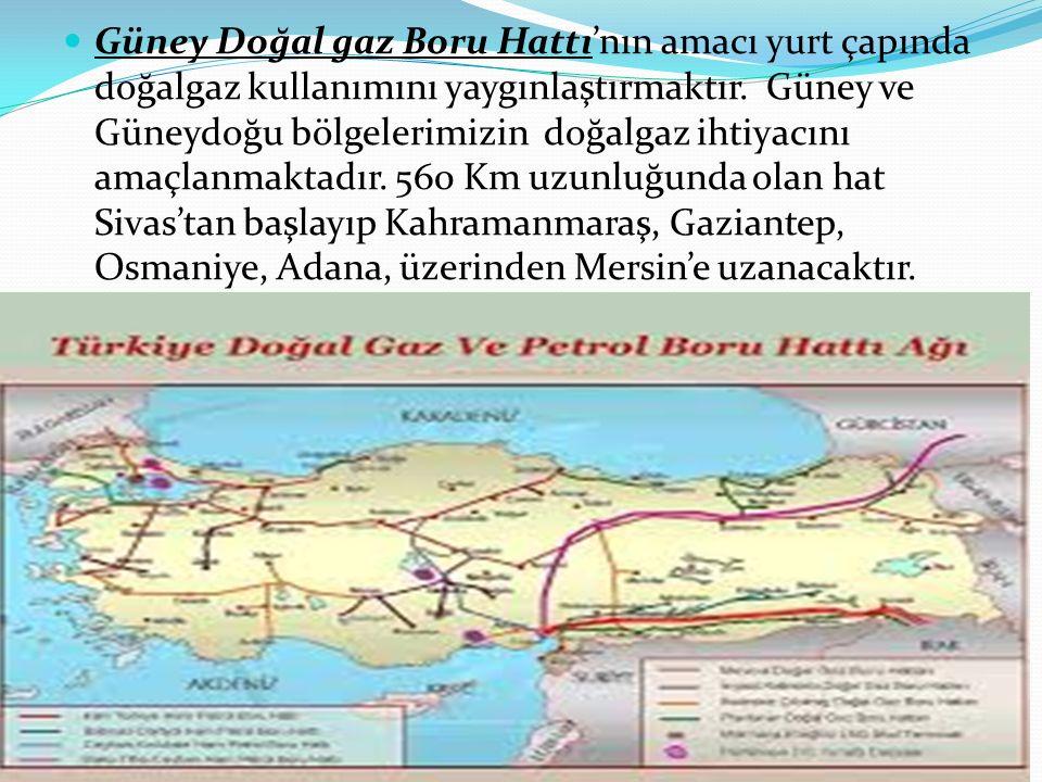 Güney Doğal gaz Boru Hattı'nın amacı yurt çapında doğalgaz kullanımını yaygınlaştırmaktır.