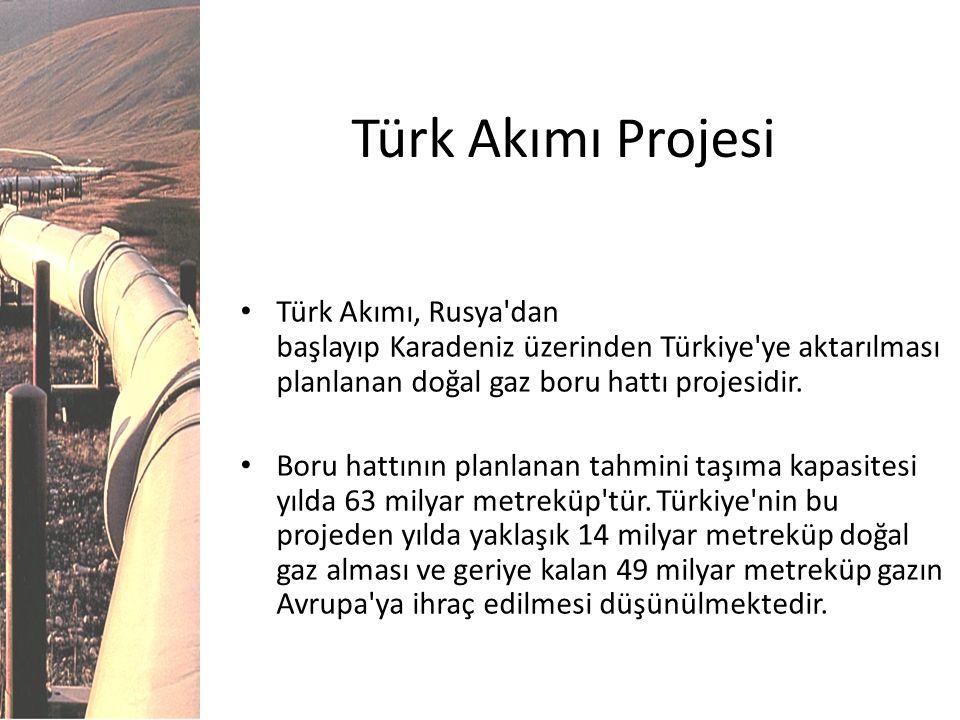 Türk Akımı Projesi Türk Akımı, Rusya dan başlayıp Karadeniz üzerinden Türkiye ye aktarılması planlanan doğal gaz boru hattı projesidir.