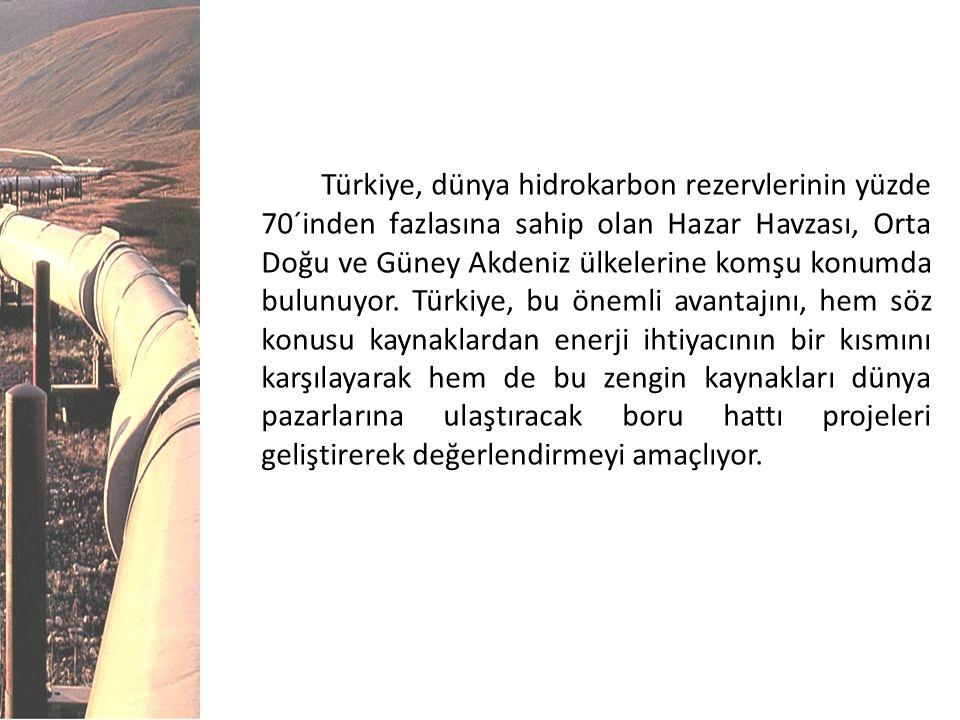 Türkiye, dünya hidrokarbon rezervlerinin yüzde 70´inden fazlasına sahip olan Hazar Havzası, Orta Doğu ve Güney Akdeniz ülkelerine komşu konumda bulunuyor.