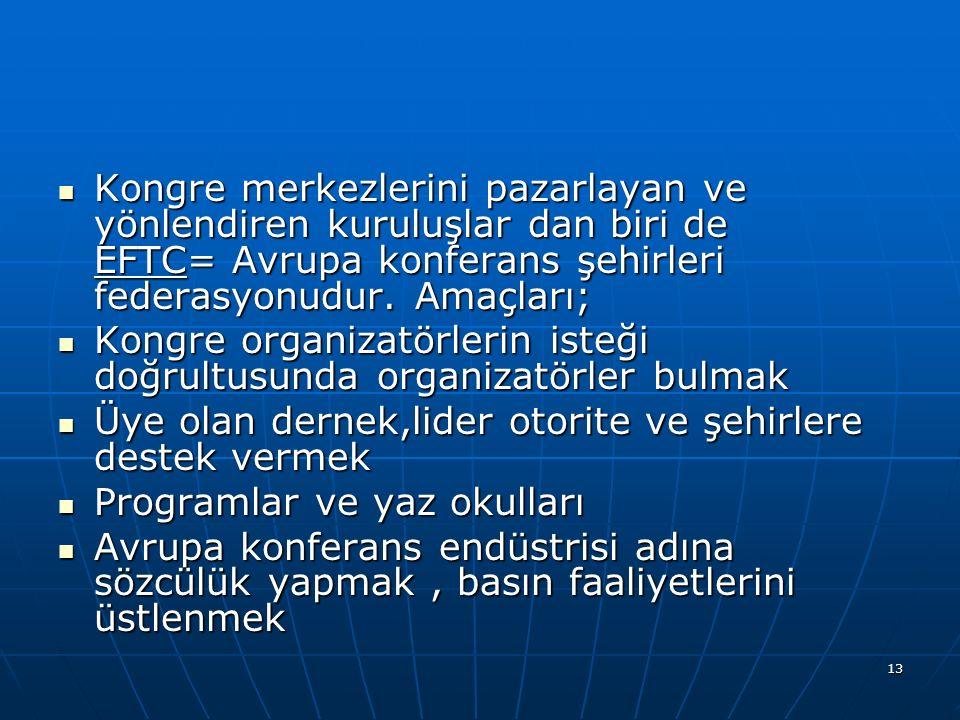 Kongre merkezlerini pazarlayan ve yönlendiren kuruluşlar dan biri de EFTC= Avrupa konferans şehirleri federasyonudur. Amaçları;