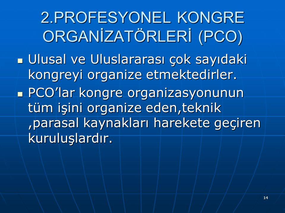 2.PROFESYONEL KONGRE ORGANİZATÖRLERİ (PCO)