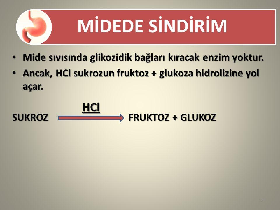 HCl Mide sıvısında glikozidik bağları kıracak enzim yoktur.