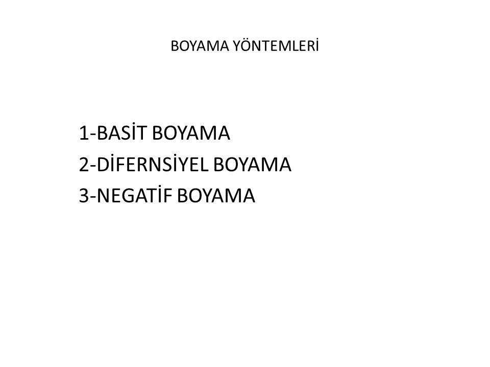 1-BASİT BOYAMA 2-DİFERNSİYEL BOYAMA 3-NEGATİF BOYAMA