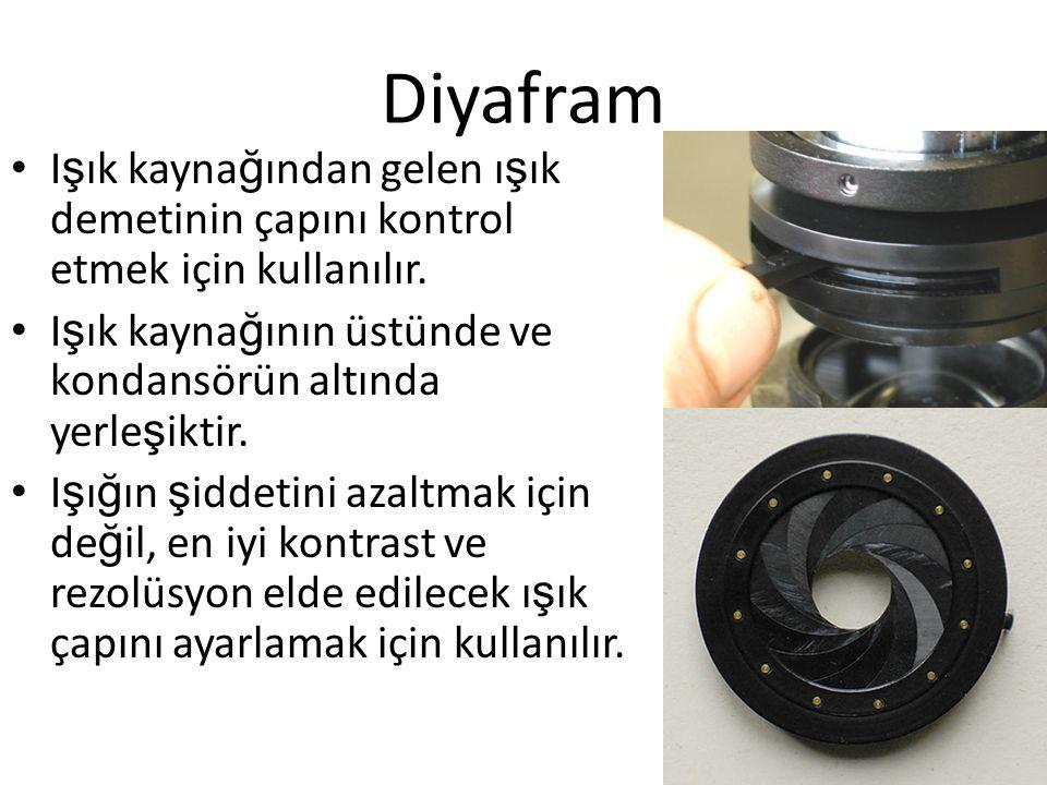 Diyafram Işık kaynağından gelen ışık demetinin çapını kontrol etmek için kullanılır. Işık kaynağının üstünde ve kondansörün altında yerleşiktir.