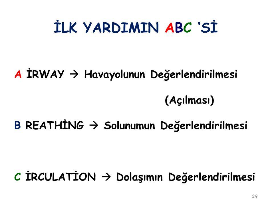 İLK YARDIMIN ABC 'Sİ