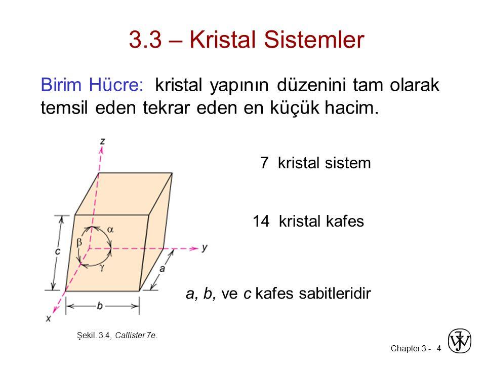 3.3 – Kristal Sistemler Birim Hücre: kristal yapının düzenini tam olarak temsil eden tekrar eden en küçük hacim.
