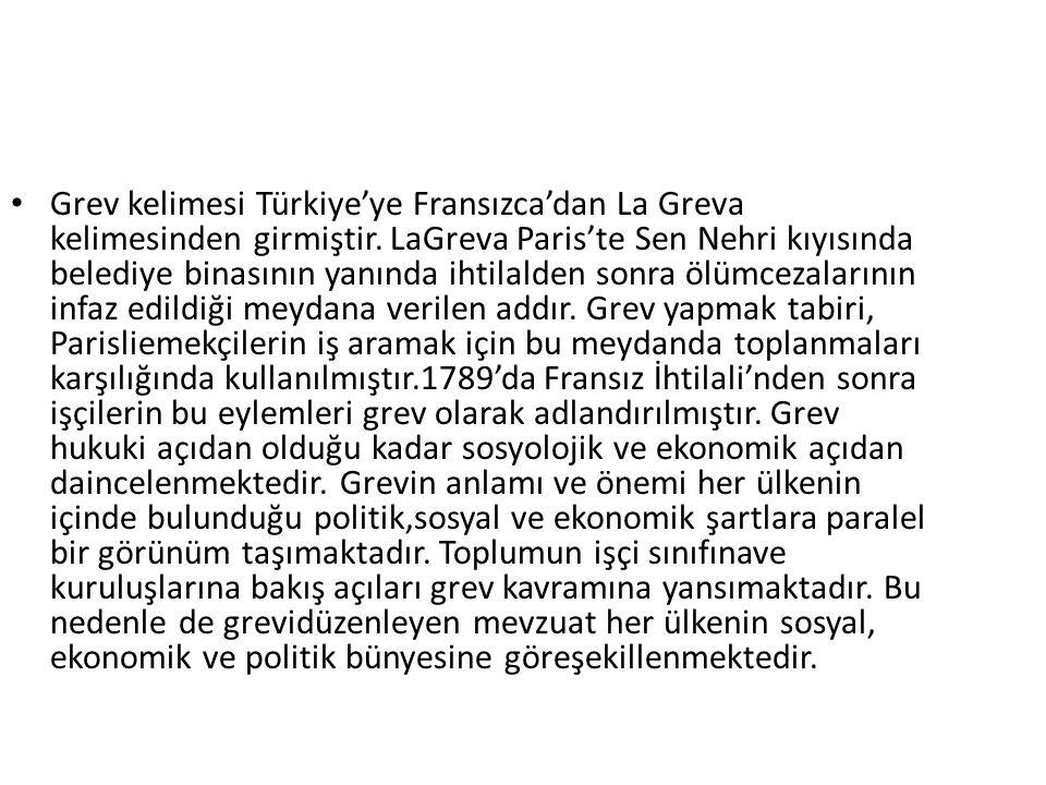 Grev kelimesi Türkiye'ye Fransızca'dan La Greva kelimesinden girmiştir