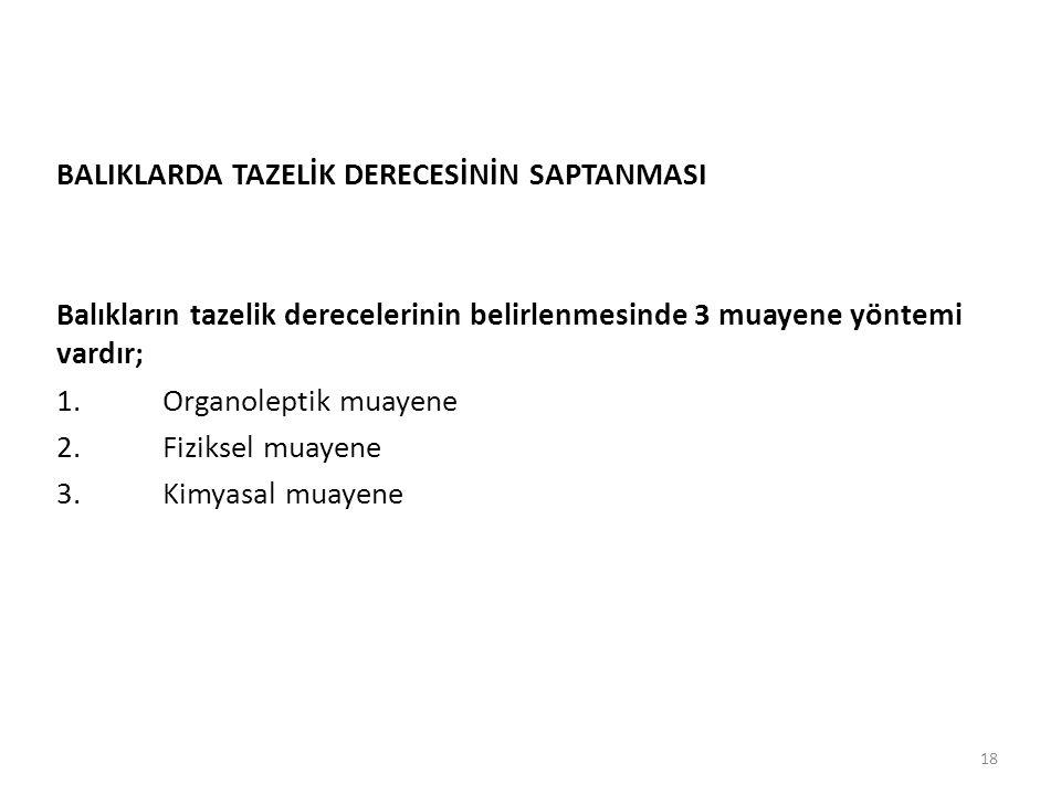 BALIKLARDA TAZELİK DERECESİNİN SAPTANMASI