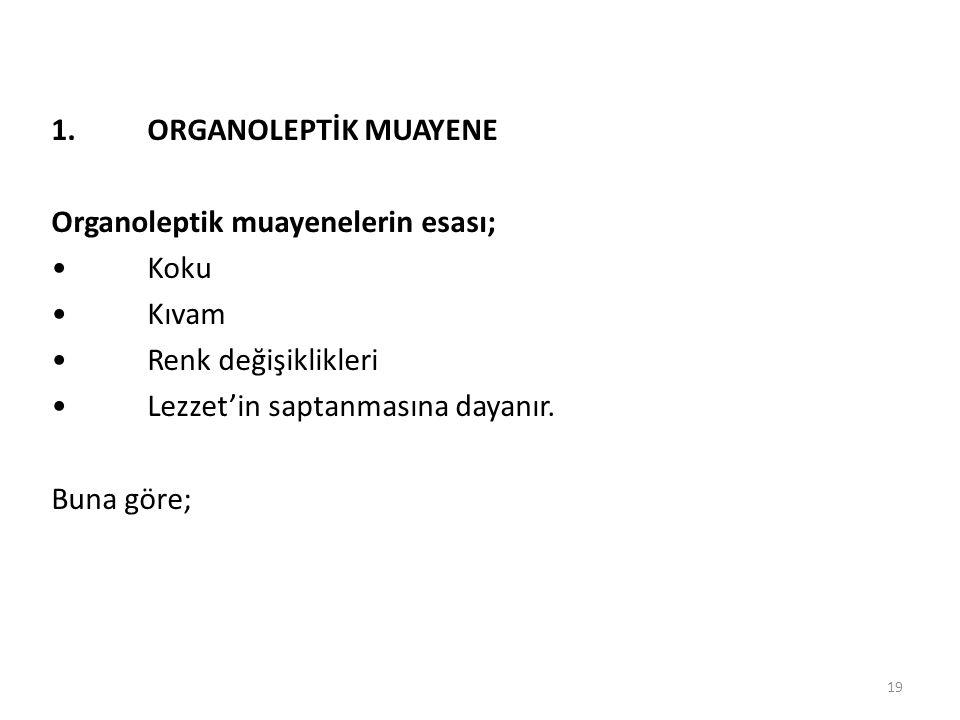 1. ORGANOLEPTİK MUAYENE Organoleptik muayenelerin esası; • Koku. • Kıvam. • Renk değişiklikleri.