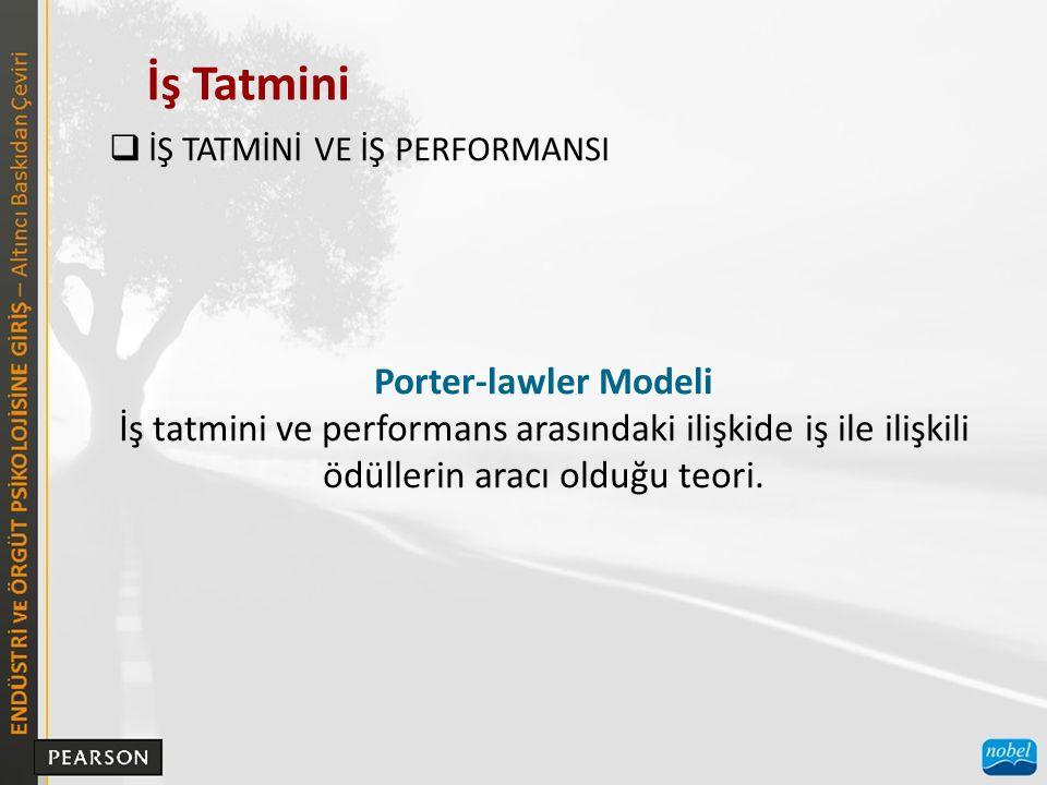 İş Tatmini Porter-lawler Modeli