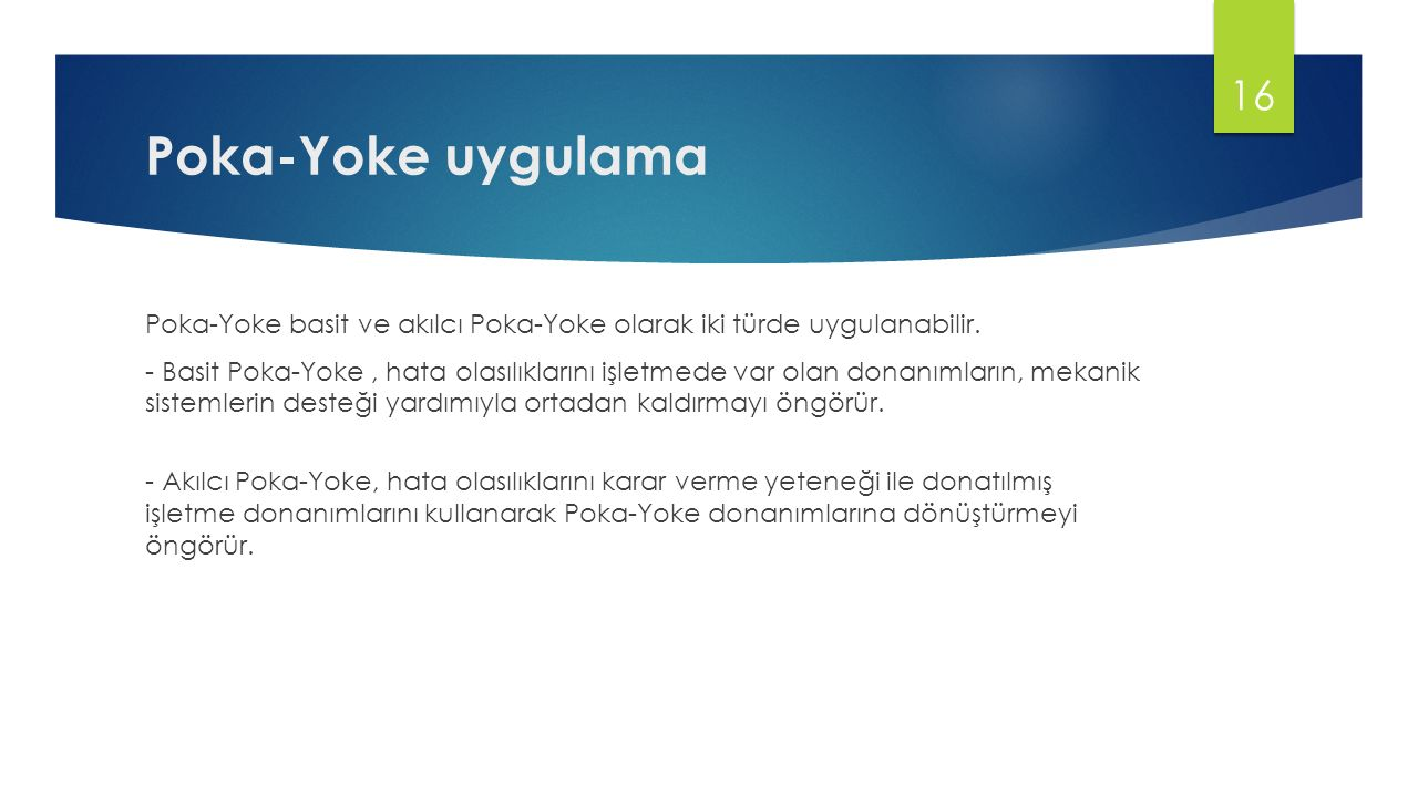 Poka-Yoke uygulama