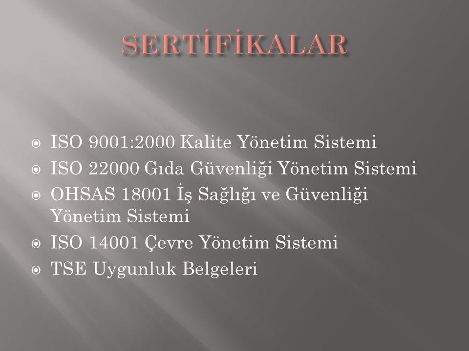SERTİFİKALAR ISO 9001:2000 Kalite Yönetim Sistemi