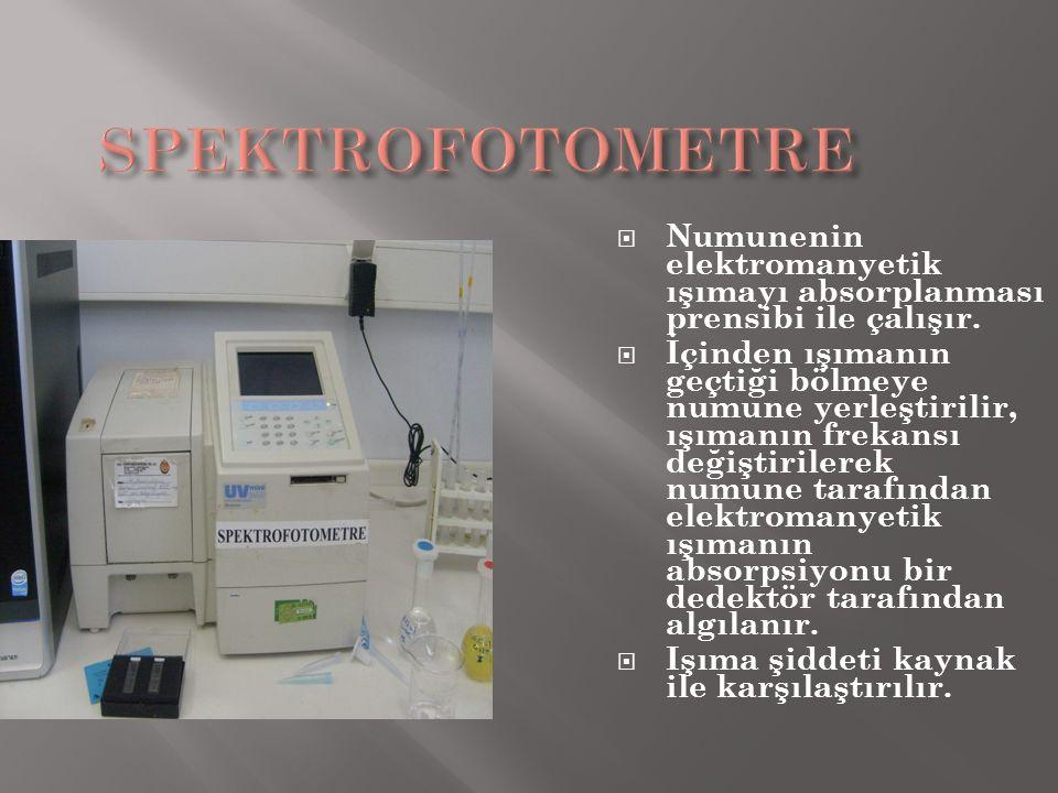 SPEKTROFOTOMETRE Numunenin elektromanyetik ışımayı absorplanması prensibi ile çalışır.