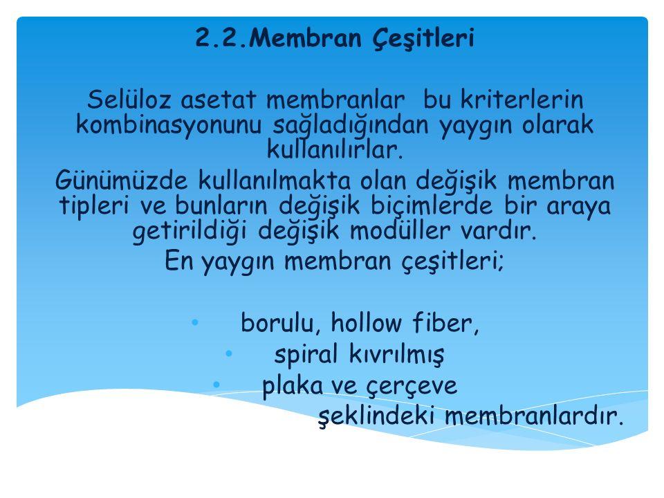 En yaygın membran çeşitleri;