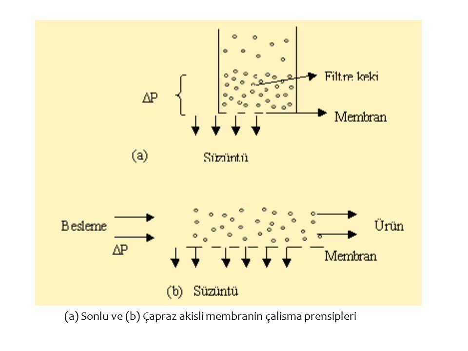 (a) Sonlu ve (b) Çapraz akisli membranin çalisma prensipleri