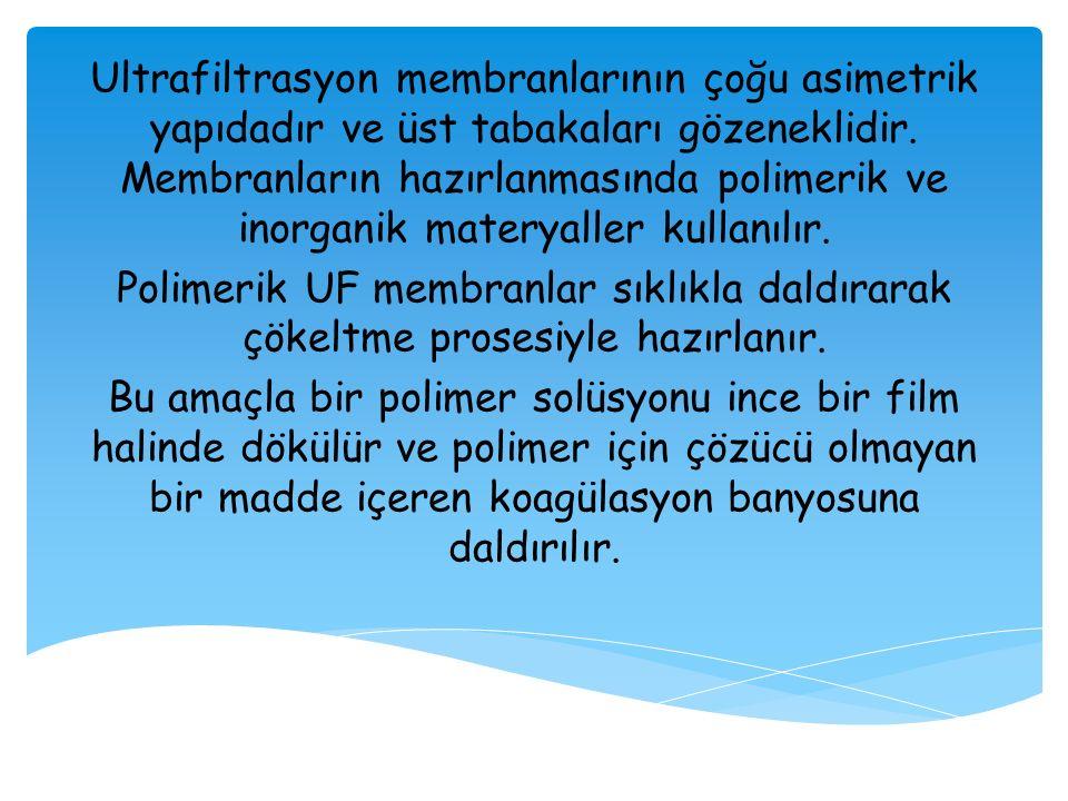 Ultrafiltrasyon membranlarının çoğu asimetrik yapıdadır ve üst tabakaları gözeneklidir. Membranların hazırlanmasında polimerik ve inorganik materyaller kullanılır.