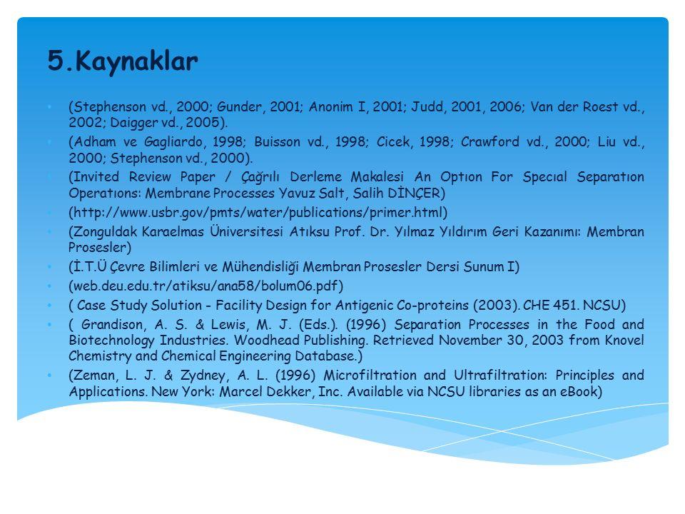 5.Kaynaklar (Stephenson vd., 2000; Gunder, 2001; Anonim I, 2001; Judd, 2001, 2006; Van der Roest vd., 2002; Daigger vd., 2005).