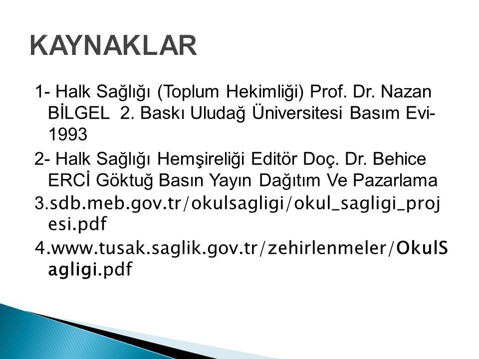 KAYNAKLAR 1- Halk Sağlığı (Toplum Hekimliği) Prof. Dr. Nazan BİLGEL 2. Baskı Uludağ Üniversitesi Basım Evi- 1993.