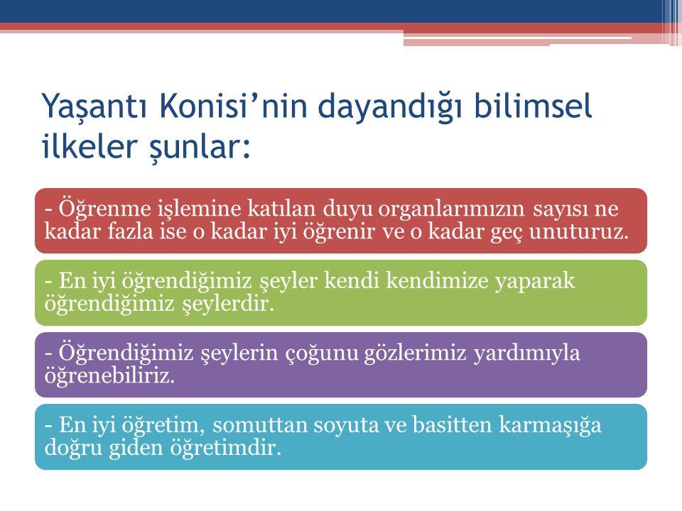 Yaşantı Konisi'nin dayandığı bilimsel ilkeler şunlar:
