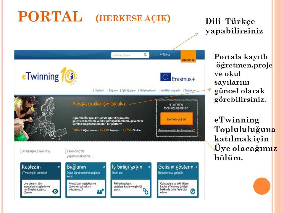 PORTAL (herkese açik) Dili Türkçe yapabilirsiniz
