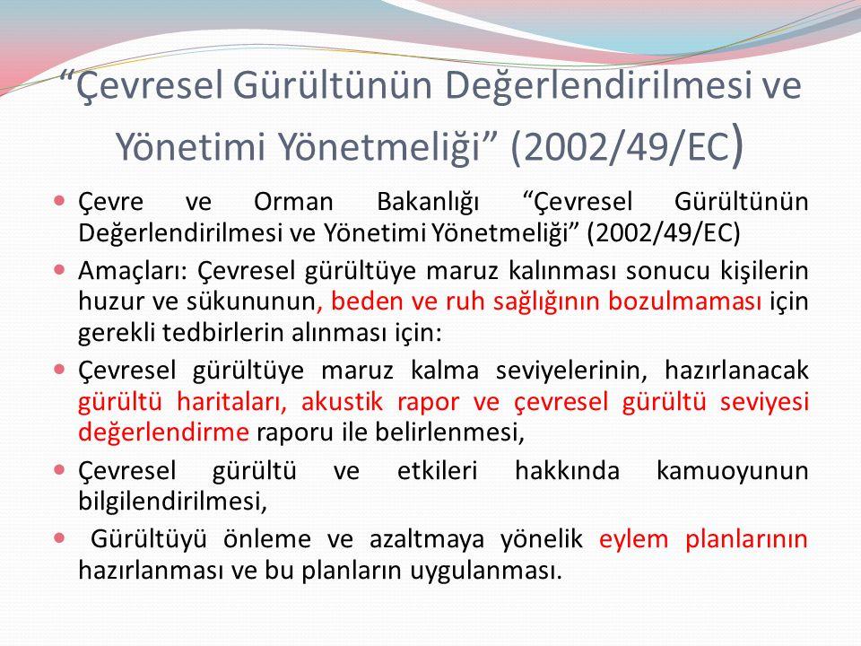 Çevresel Gürültünün Değerlendirilmesi ve Yönetimi Yönetmeliği (2002/49/EC)