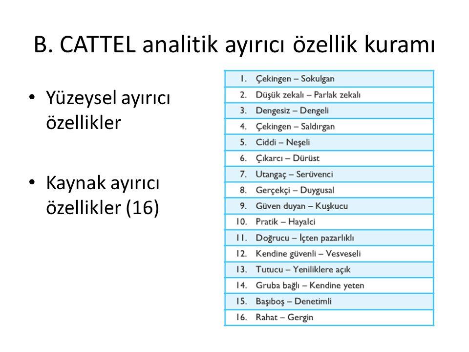 B. CATTEL analitik ayırıcı özellik kuramı