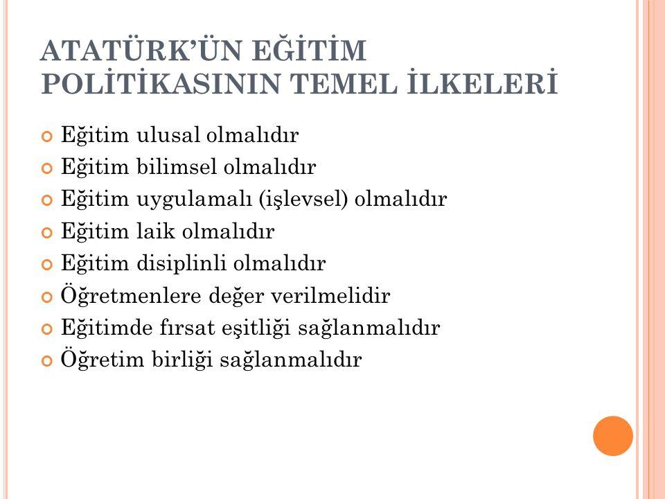 ATATÜRK'ÜN EĞİTİM POLİTİKASININ TEMEL İLKELERİ
