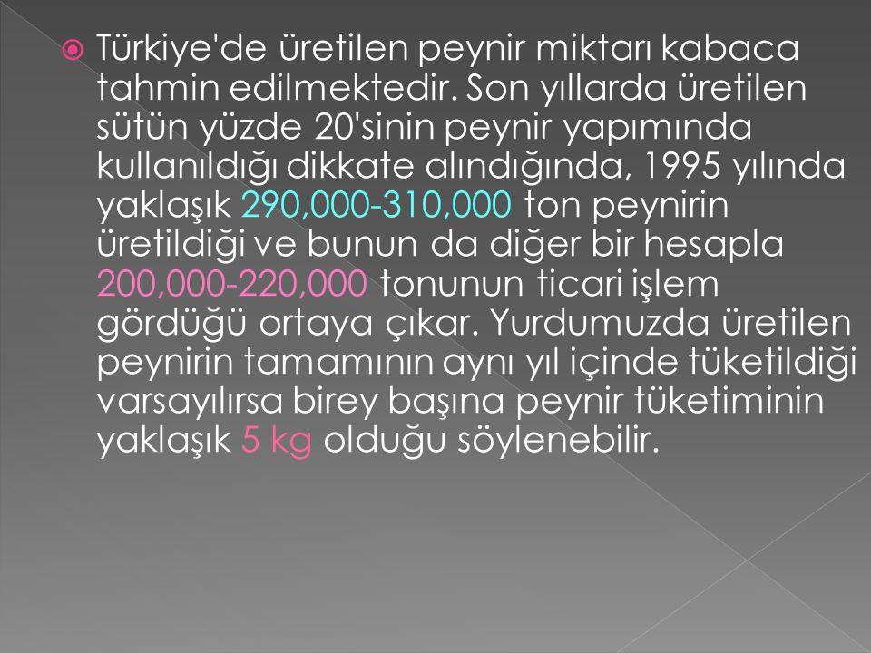 Türkiye de üretilen peynir miktarı kabaca tahmin edilmektedir