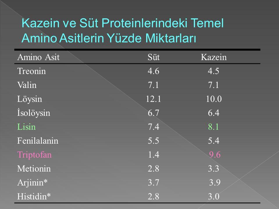 Kazein ve Süt Proteinlerindeki Temel Amino Asitlerin Yüzde Miktarları