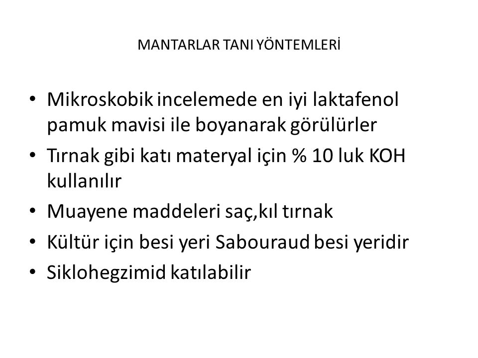 MANTARLAR TANI YÖNTEMLERİ
