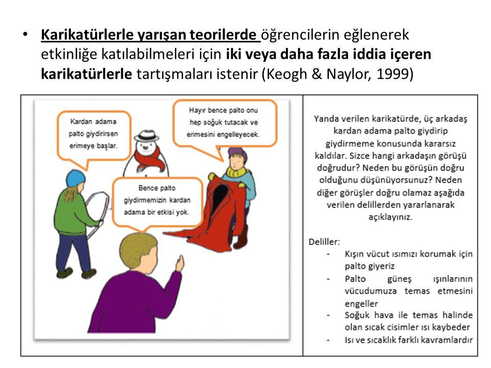 Karikatürlerle yarışan teorilerde öğrencilerin eğlenerek etkinliğe katılabilmeleri için iki veya daha fazla iddia içeren karikatürlerle tartışmaları istenir (Keogh & Naylor, 1999)