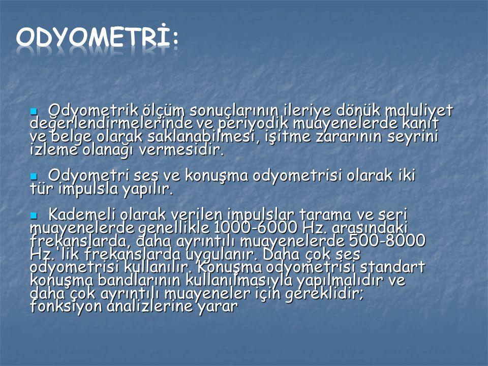 Odyometrİ: Odyometrik ölçüm sonuçlarının ileriye dönük maluliyet