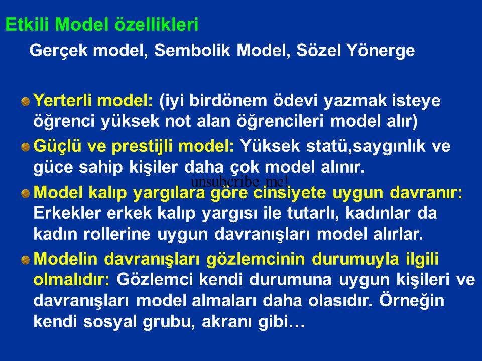 Etkili Model özellikleri