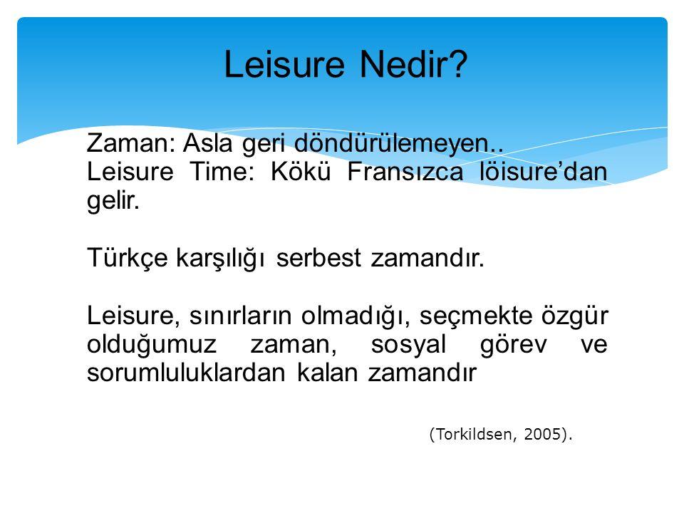 Leisure Nedir Zaman: Asla geri döndürülemeyen..