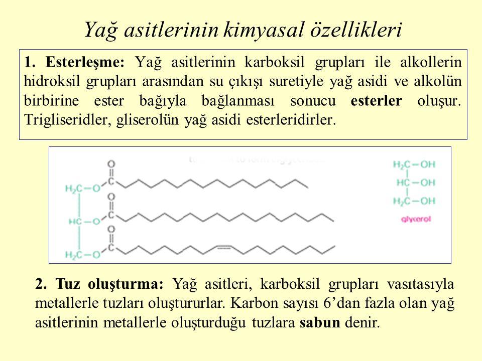Yağ asitlerinin kimyasal özellikleri