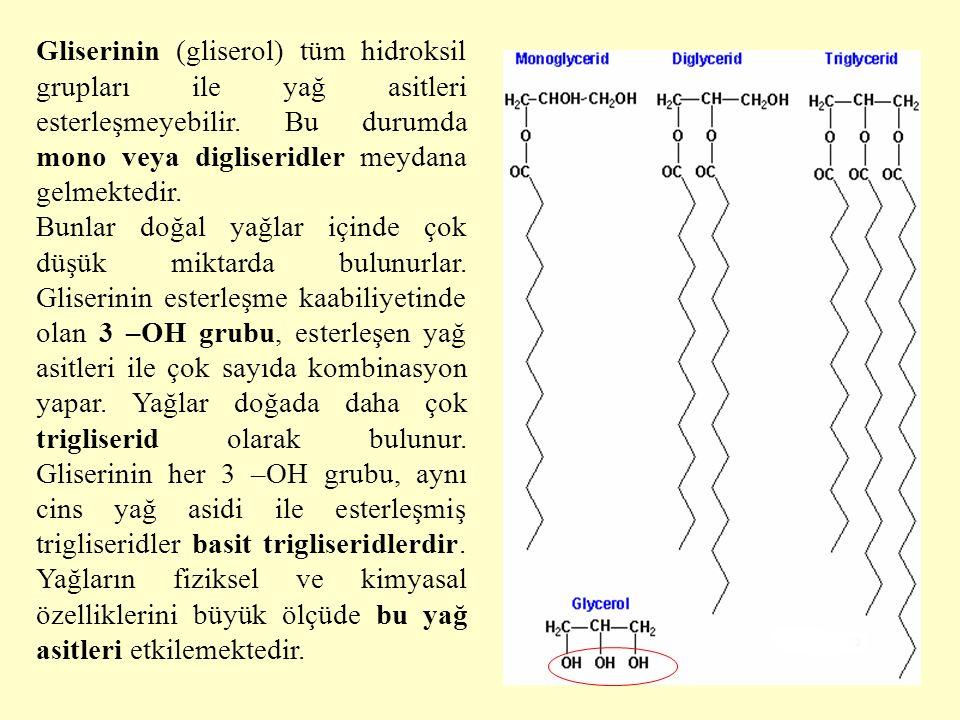Gliserinin (gliserol) tüm hidroksil grupları ile yağ asitleri esterleşmeyebilir. Bu durumda mono veya digliseridler meydana gelmektedir.