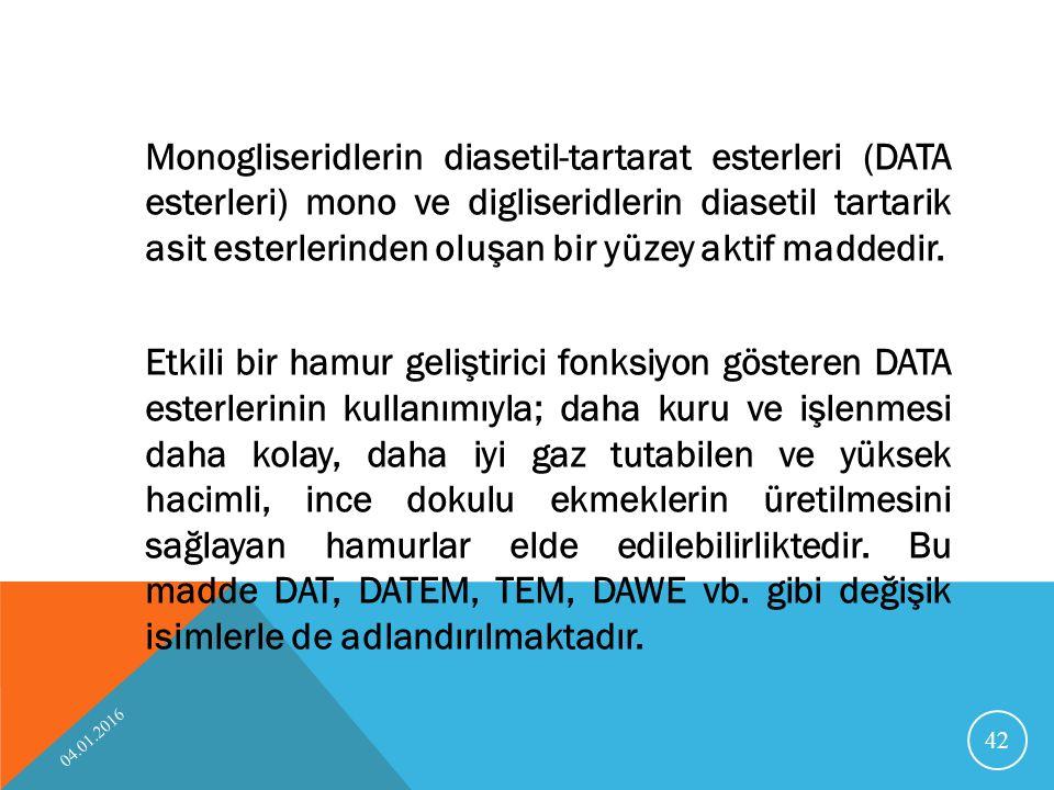 Monogliseridlerin diasetil-tartarat esterleri (DATA esterleri) mono ve digliseridlerin diasetil tartarik asit esterlerinden oluşan bir yüzey aktif maddedir.
