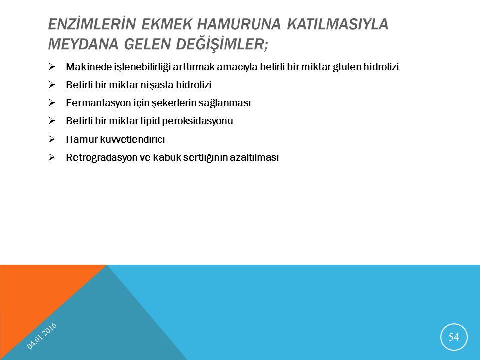 ENZİMLERİN EKMEK HAMURUNA KATILMASIYLA MEYDANA GELEN DEĞİŞİMLER;