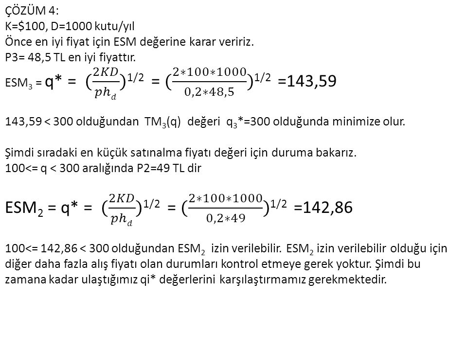 ESM2 = q* = ( 2𝐾𝐷 𝑝ℎ𝑑 )1/2 = ( 2∗100∗1000 0,2∗49 )1/2 =142,86