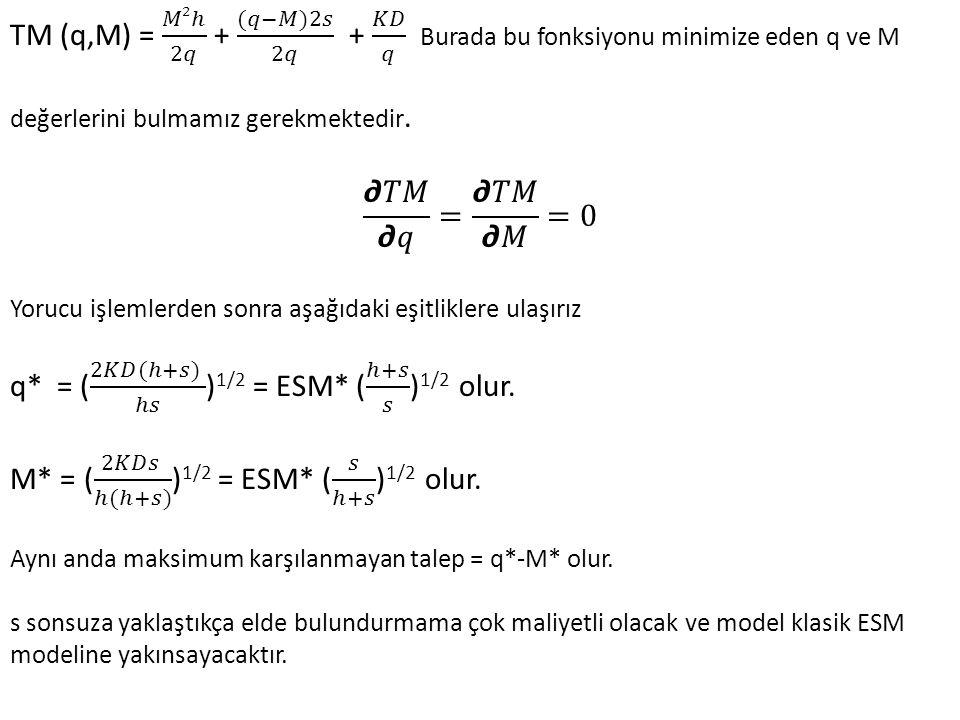q* = ( 2𝐾𝐷(ℎ+𝑠) ℎ𝑠 )1/2 = ESM* ( ℎ+𝑠 𝑠 )1/2 olur.