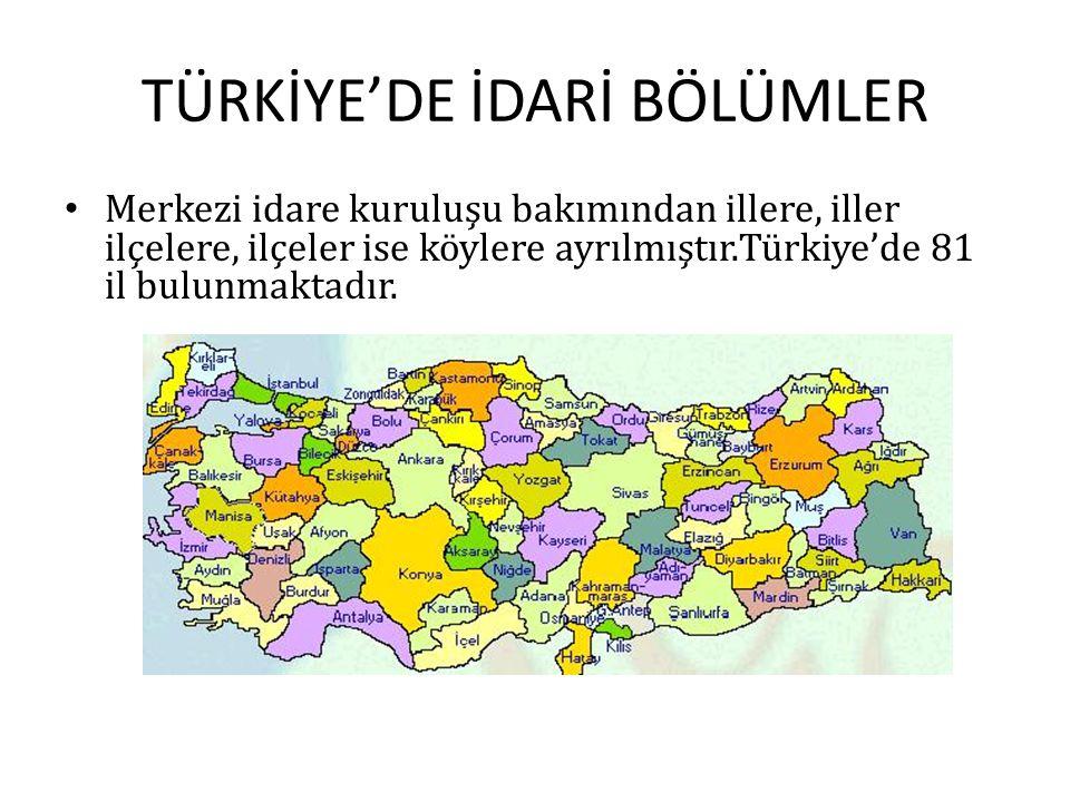 TÜRKİYE'DE İDARİ BÖLÜMLER