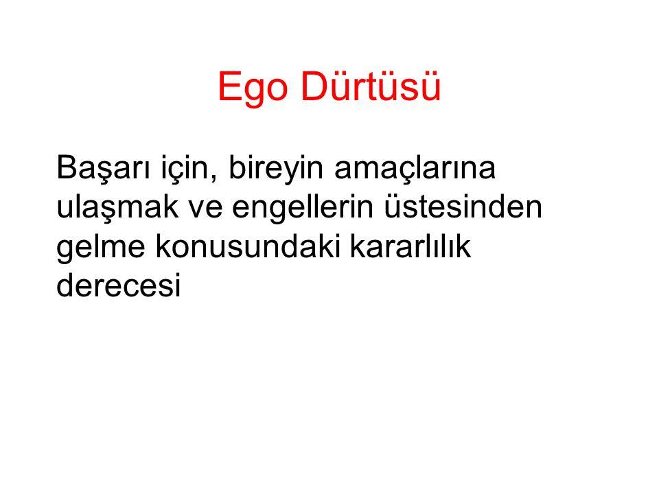 Ego Dürtüsü Başarı için, bireyin amaçlarına ulaşmak ve engellerin üstesinden gelme konusundaki kararlılık derecesi.