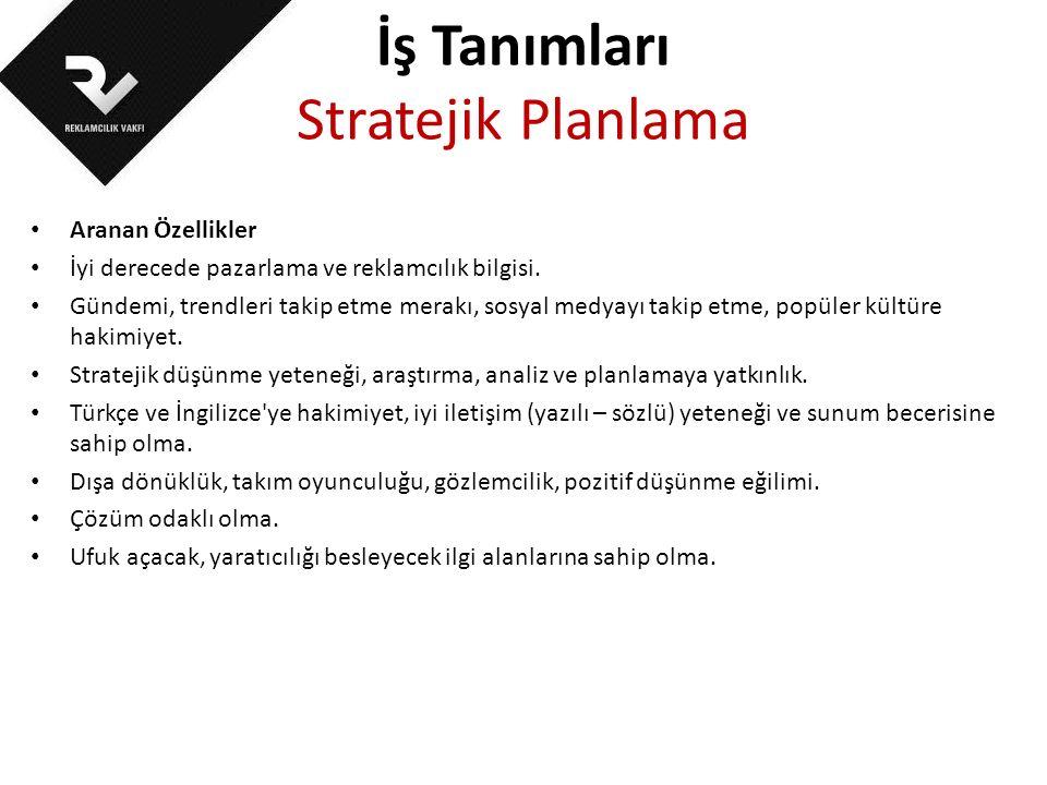 İş Tanımları Stratejik Planlama