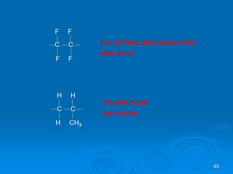 C C C C H CH3 POLİTETRAFLOROETİLEN (PTFE) MER YAPISI POLİPROPİLEN