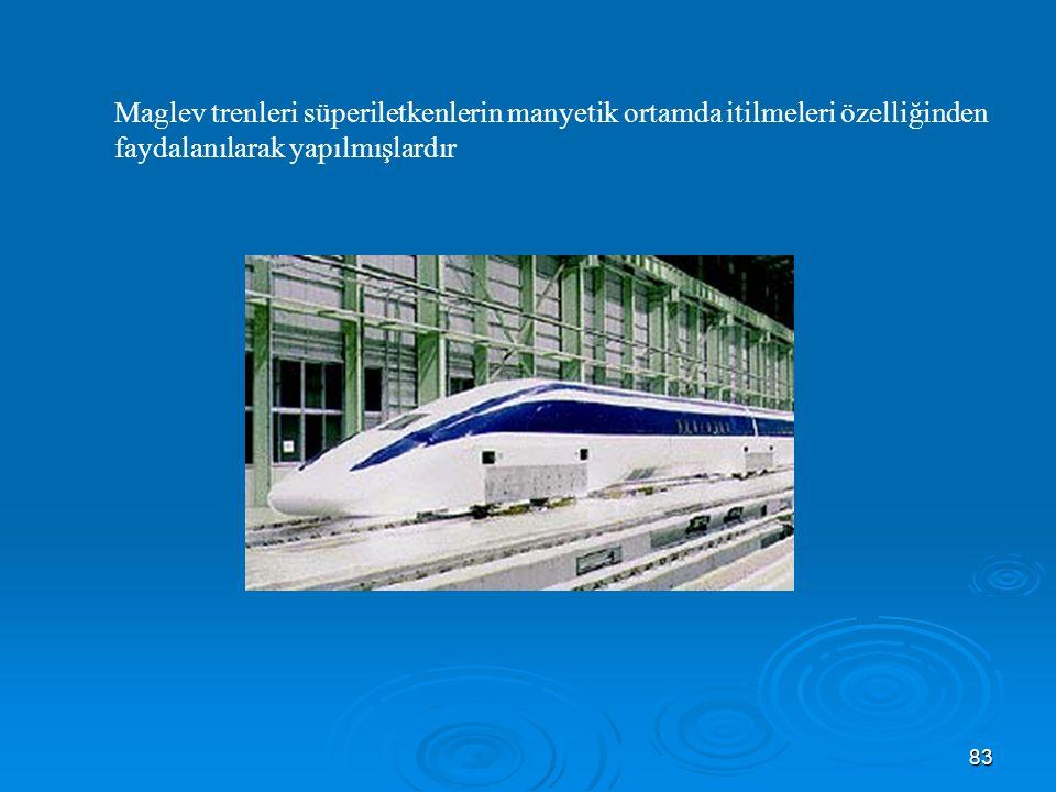 Maglev trenleri süperiletkenlerin manyetik ortamda itilmeleri özelliğinden faydalanılarak yapılmışlardır
